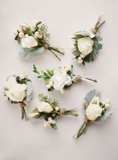 Neutral boutonniere's / Lamb's ear + white rose boutonnieres / via: style me pretty