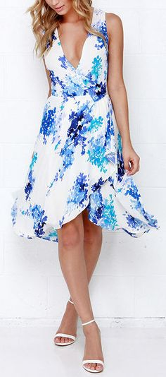 Paint Me a Picture Ivory and Blue Floral Print Wrap Dress