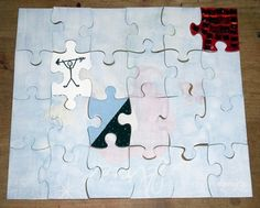 Use Elmer's CraftBond Glue Spots, Foam Mounting Tape, and Clear Dual Tip Glue Pen for this altered puzzle tutorial. Also try the X-Acto Designer Series Craft Knife. Puzzle Piece Crafts, Puzzle Art, Puzzle Pieces, Altered Books, Altered Art, School Auction Projects, 8th Grade Art, Paper Crafts, Diy Crafts