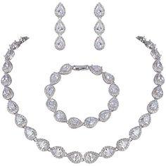 EVER FAITHΒ® Sparkle Zircon Famous Star Inspired Wedding Jewellery Set…