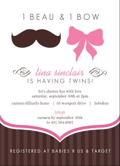 Mustache And Bow Twin Baby Shower Invitation by PurpleTrail.com