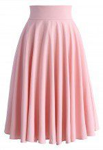 Creamy Pleated Midi Skirt in Pink