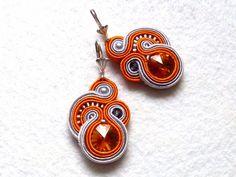 Soutache earrings Orange-Gray Swarovski Glamour! di Soutache4You su DaWanda.com