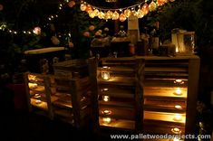 Pallet Wood Bar with Lights