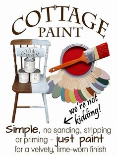 Cottage Paint, fabulous, quick and easy. No stripping, sanding or primer needed! Painted Cottage, Weekend Projects, House Colors, Colours, Decorating, Wallpaper, Store, Simple, Easy