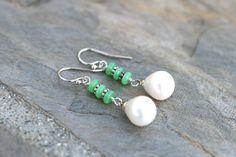 Green Chrysoprase White Freshwater Pearl Drop Earrings