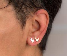 Tiny llama Earrings Llama Studs sterling silver by zoozjewelry