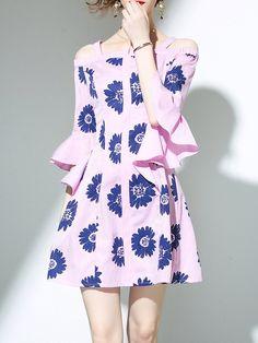 #AdoreWe #StyleWe Mini Dresses❤️Designer YIYIQI Pink Off Shoulder Floral-print Casual Stripes Mini Dress - AdoreWe.com