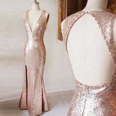 prom dresses 2017,deep v-neck prom dresses,rose gold prom dresses,mermaid prom dresses