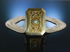 Antique Necklace Austria! Feine Kropfkette Trachten Collier Silber vergoldet 10 reihig Österreich um 1900 zu Tracht und Dirndl, traditioneller Trachtenschmuck bei Die Halsbandaffaire