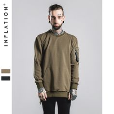 INFLATION 2016 Autumn & Winter MA1 Pocket Thin New Sweatershirt 210G Male Hip Hop Long Man Hoodies Sweatshirts Outerwear //Price: $US $40.18 & FREE Shipping //     #fashion