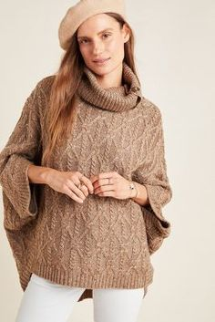 Corinne Cable Knit Poncho by Anthropologie in Beige Size: Xs, Women's Sweaters Free Knit Poncho Pattern, Poncho Knitting Patterns, Knit Patterns, Wool Poncho, Knitted Poncho, Anthropologie, Sweater Fashion, Sweaters For Women, Women's Sweaters