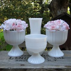 4 White Milk Glass Ribbed Compotes and Vase - Wedding Centerpiece - Oak Hill Vintage