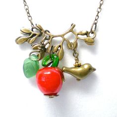 Apple Bird Leaf Branch Charm Necklace by LynnetteJewelry on Etsy
