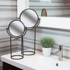 Reflect your style with this pair of round tabletop mirrors in gunmetal gray finish. Item 38823. #homedecor #mirrors #industrialdesign #industrialdecor #moderndesign #modernstyle #bathroomdecor #tabletopmirror #interiordesign #style
