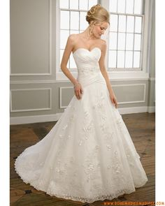 Robe bustier col en cœur 2012 A-line appliques fleurs robe de mariée  organza Bridal 9426e10ae6d2