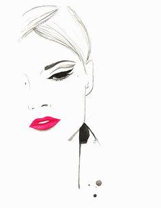 Illustration : Beautiful pensive woman wearing pink lipstick