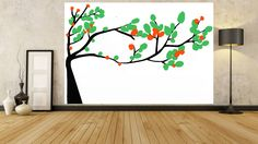 Tree Paintings Black White Green Orange LARGE Painting LANDSCAPE Canvas ART GIFT #Abstract