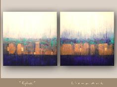 Modernes Abstraktes Werk, eine ägyptische Inspiration...      LIONA-ART.DE    *1 Unikat-Kunstwerk: 2 Teile, auf extra tiefen Keilrahmen.  Exclusives D