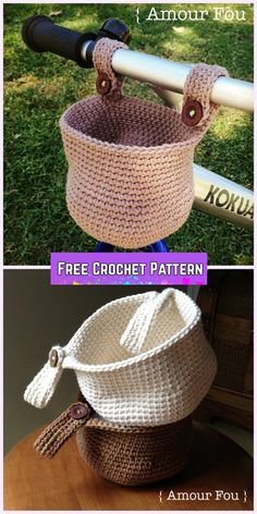 Crochet Bike Hanging Basket Free Pattern for the bike bunch.#affiliatelink
