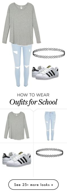 """school"" by gabby-angelone on Polyvore featuring River Island, adidas Originals, women's clothing, women's fashion, women, female, woman, misses and juniors"
