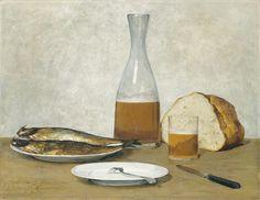 Albert Anker 'Still life, Herrings' 19th Century by Plum leaves