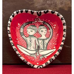 Sexy Heart  Red Ceramic Pinch Bowl Heart  Original by jennymendes Only $69.00