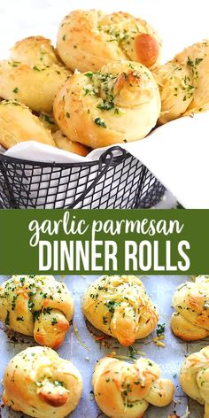 Garlic Parmesan Dinner Rolls - homemade bread dough turned into the best dinner rolls with garlic and Parmesan cheese. Garlic Parmesan Dinner Rolls - homemade bread dough turned into the best dinner rolls with garlic and Parmesan cheese. Baking Recipes For Kids, Cooking Recipes, Recipes With Bread, Baking For Beginners, Kitchen Recipes, Easy Cooking, Homemade Dinner Rolls, Quick Dinner Rolls, Garlic Parmesan