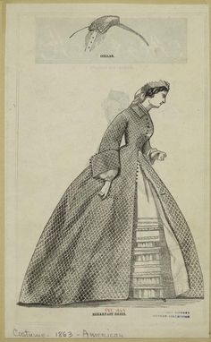 """Collar and breakfast dress"", The Peterson Magazine, 1863; NYPL 803115"