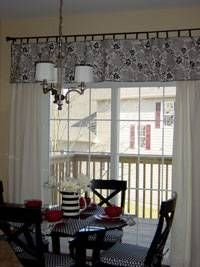 This fabulously frugal window valance is a table runner with tabs attached and hung over drapes