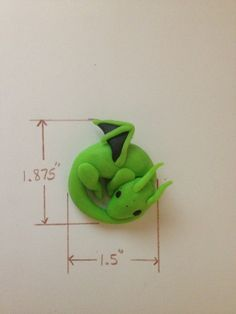 Lime Green Clay Dragon. $10.00, via Etsy.