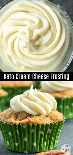 This low carb Keto Cream Cheese Frosting is a sugar-free cream cheese frosting that is LCHF and perfect topping for low carb desserts. This low carb cream cheese frosting is made with Swerve and is the BEST keto cream cheese frosting for low carb cookies, Keto Cupcakes, Keto Cookies, Keto Cake, Chip Cookies, Sugar Free Cupcakes, Low Carb Sweets, Low Carb Desserts, Low Carb Recipes, Dessert Recipes