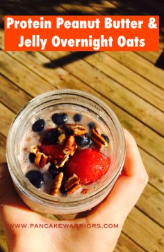 Protein PB&J Overnight Oats - high protein, perfect pre-workout meal or morning pick me up.