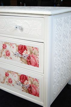Love the glass knobs & paint-able embossed wallpaper for my furniture! Sweet Cottage Chic Dresser with Roses [embossed wallpaper & glass knobs] Decoupage Furniture, Refurbished Furniture, Repurposed Furniture, Shabby Chic Furniture, Furniture Projects, Custom Furniture, Furniture Makeover, Painted Furniture, Home Furniture