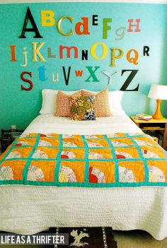 Life as a Thrifter: The Big Girl Room - I love this alphabet wall -Skye