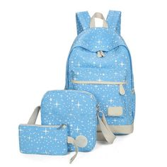 Osmond Canvas Printing Backpack Women Fresh Big Book Bag With Purse Laptop 3pcs High Quality Schoolbags For Teenager Girs