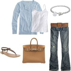 light blue cardigan, birkin (or in my poor case, a bag that looks like a birkin, LOL), leopard flats, tiffany