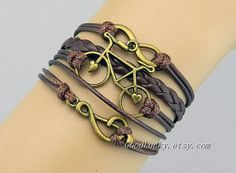Braceletleather braceletinfinityBikeMusic by charmjewelrybracelet, $10.29