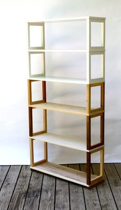 Ombre Bookcase or Shelving Unit in Sustainable and Reclaimed Wood w/ White Upper Shelving