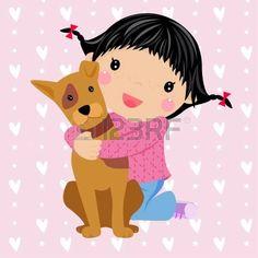 bambina con cane: carino bambina e cane Vettoriali