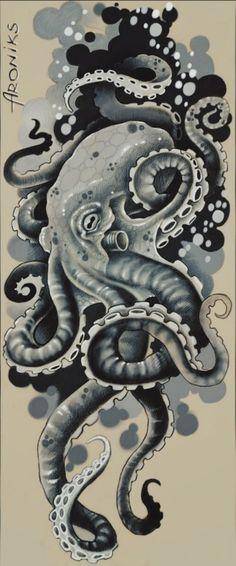 Octopus Tattoo Sleeve, Kraken Tattoo, Kraken Art, Octopus Tattoo Design, Tattoo Designs, Octopus Tattoos, Tattoo Design Drawings, Tattoos Mandala, Tattoos Geometric