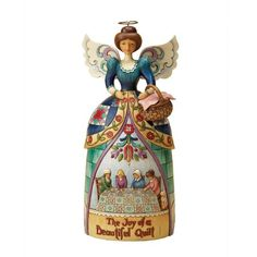 Jim Shore Heartwood Creek Angel with Quilting Scene Figurine 10-Inch