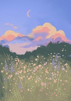 this one's for you, louis theroux - Gouache Painting Anime Scenery Wallpaper, Aesthetic Pastel Wallpaper, Wallpaper Backgrounds, Aesthetic Wallpapers, Daisy Wallpaper, Hippie Wallpaper, Aesthetic Painting, Aesthetic Art, Aesthetic Anime