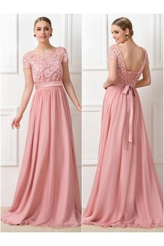 Fairy Tale Long Pink Chiffon Bridesmaid Dresses 2017 Lace Scoop Sheerly Backless Sashes Short Sleeves Maid of Honor Dresses _ {categoryName} - AliExpress Mobile Version - Cute Dresses, Short Dresses, Bridesmaid Dresses 2017, Dresses 2016, Maid Of Honour Dresses, Bride Gowns, Wedding Party Dresses, Dress Brands, Marie