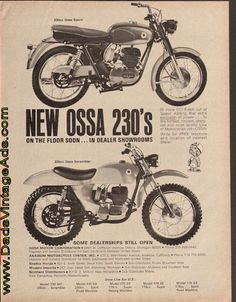 1966 Ossa 230 Sport & Scrambler – on the floor soon