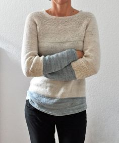a4b15276d08a10 Antler is a cozy every day sweater. Easy to wear with a feminine neckline  and nice garter stitch details and its easy to play with colorblocking!