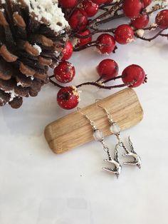 Silver Dangle Dove Earrings - Christmas Doves - Christmas Earrings - Spiritual Gifts - Religious Gifts- Bird Lover Gift - Bird Earrings by ABBGDesigns on Etsy