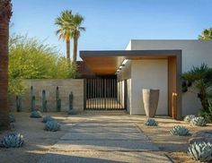 Exquisite modern desert home captivates in Palm Springs This striking modern desert home was designed by Schmidt Architecture in collaboration with The Wiseman Group, located in Palm Springs, California. Modern Landscape Design, Landscape Plans, Modern Landscaping, Contemporary Landscape, Contemporary Architecture, Architecture Design, Contemporary Building, Desert Landscape, Contemporary Bar