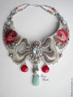 Neckpiece by Russian beader Olga Orlova. Bead embroidery, peyote stitch bezels.  Seed beads, glass beads and pearls, various stone briolette dangles.