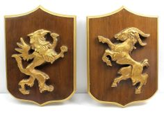 Vintage Gold GRIFFIN & GOAT Ram RAMPANT Wood Heraldic Shield Coat of Arms Plaque
